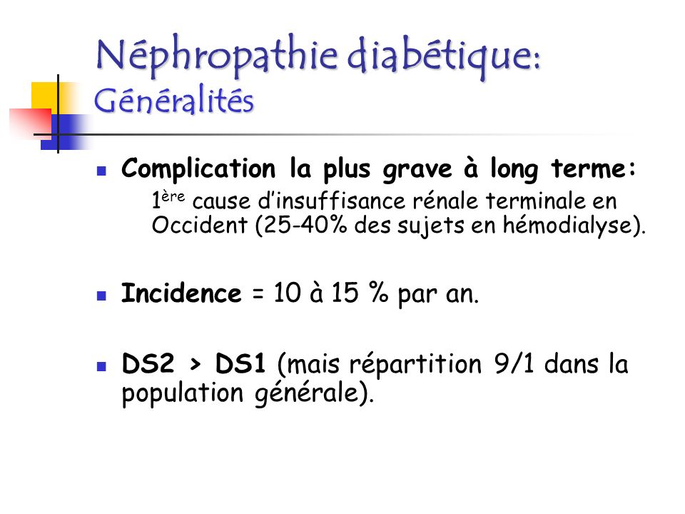 Néphropathie diabétique: Généralités
