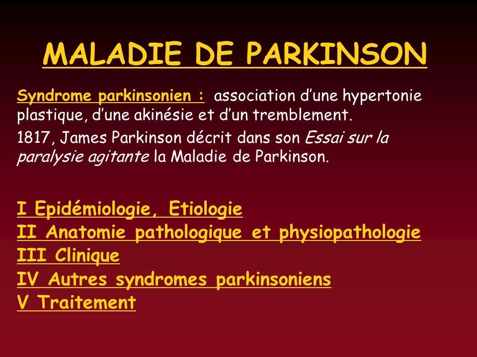 MALADIE DE PARKINSON I Epidémiologie, Etiologie