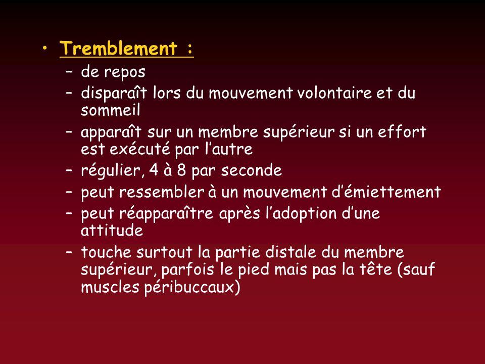 Tremblement :de repos. disparaît lors du mouvement volontaire et du sommeil. apparaît sur un membre supérieur si un effort est exécuté par l'autre.