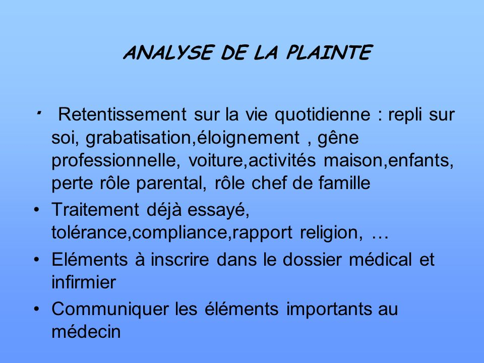 ANALYSE DE LA PLAINTE