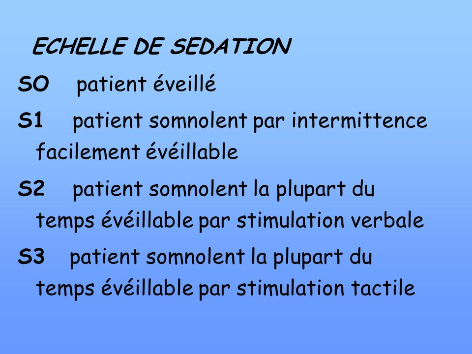 ECHELLE DE SEDATION SO patient éveillé