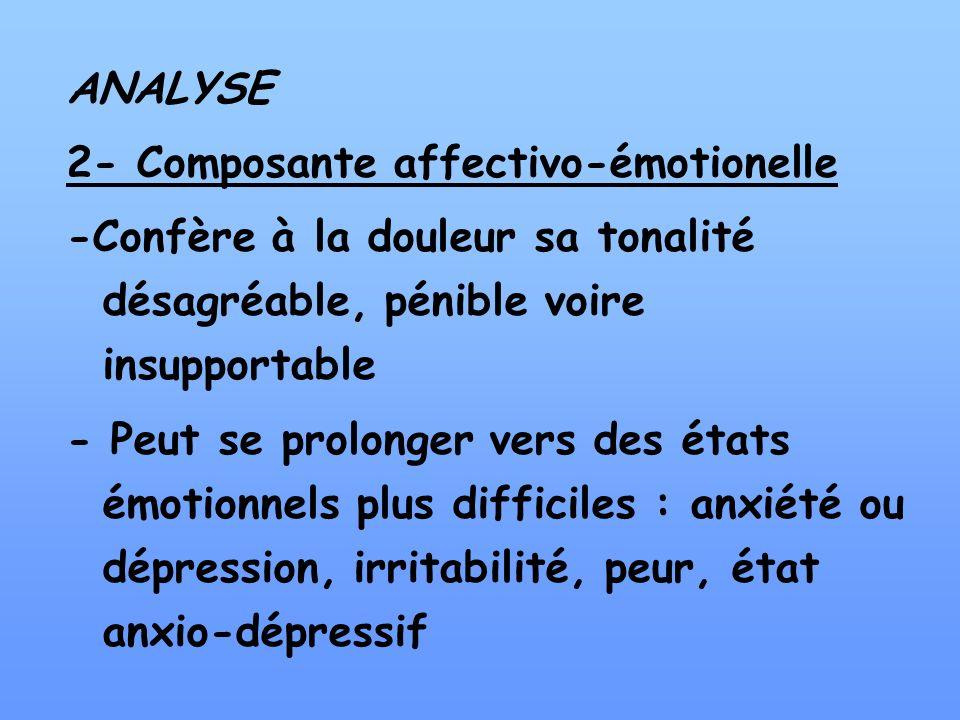 ANALYSE2- Composante affectivo-émotionelle. -Confère à la douleur sa tonalité désagréable, pénible voire insupportable.