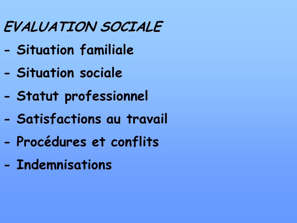 EVALUATION SOCIALE - Situation familiale. - Situation sociale. - Statut professionnel. - Satisfactions au travail.