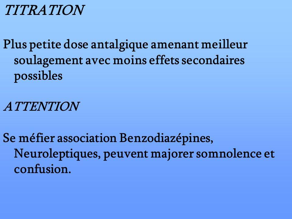 TITRATIONPlus petite dose antalgique amenant meilleur soulagement avec moins effets secondaires possibles.