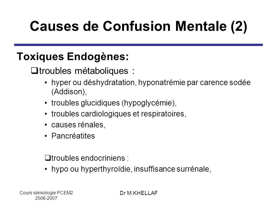 Causes de Confusion Mentale (2)