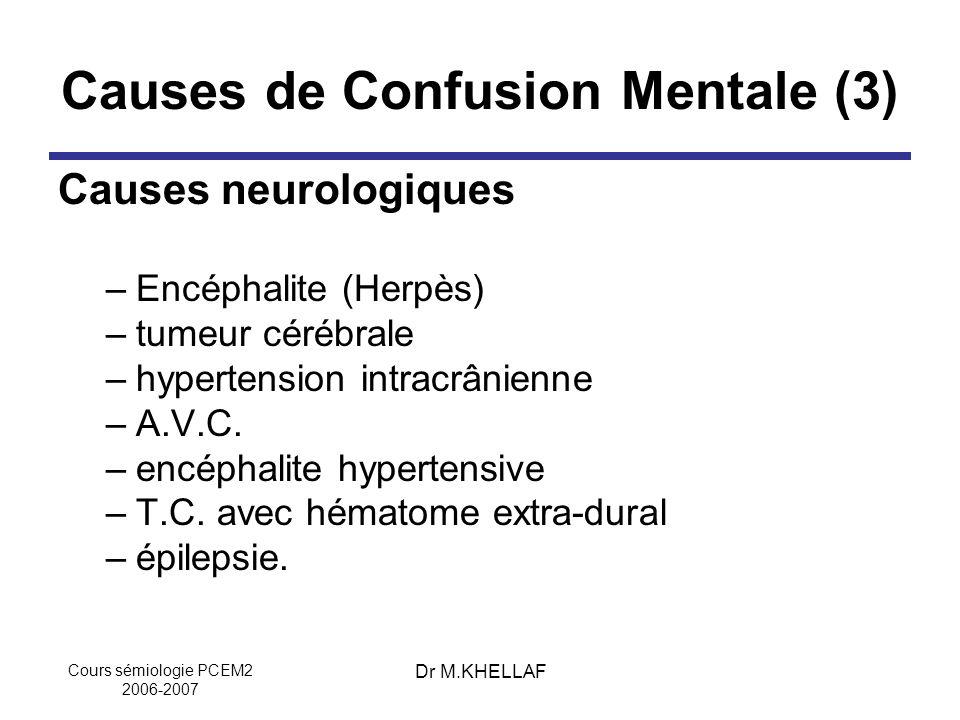 Causes de Confusion Mentale (3)