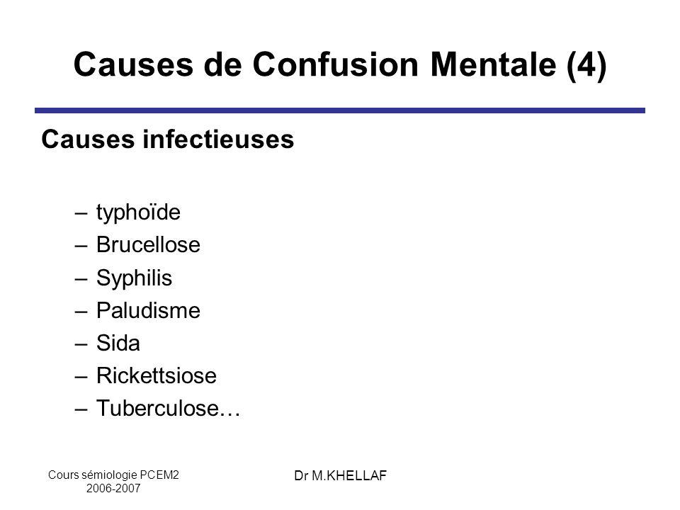 Causes de Confusion Mentale (4)