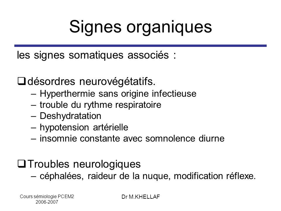 Signes organiques les signes somatiques associés :