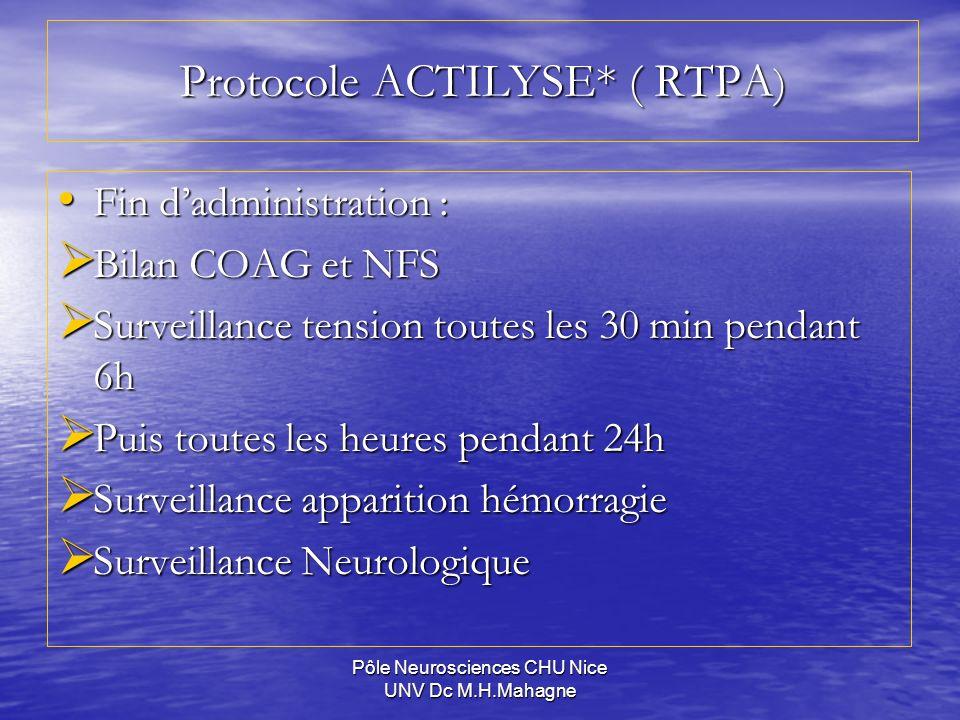 Protocole ACTILYSE* ( RTPA)
