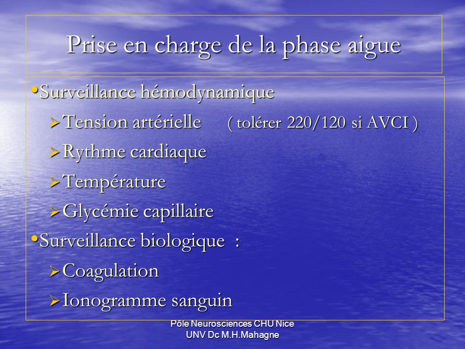 Prise en charge de la phase aigue