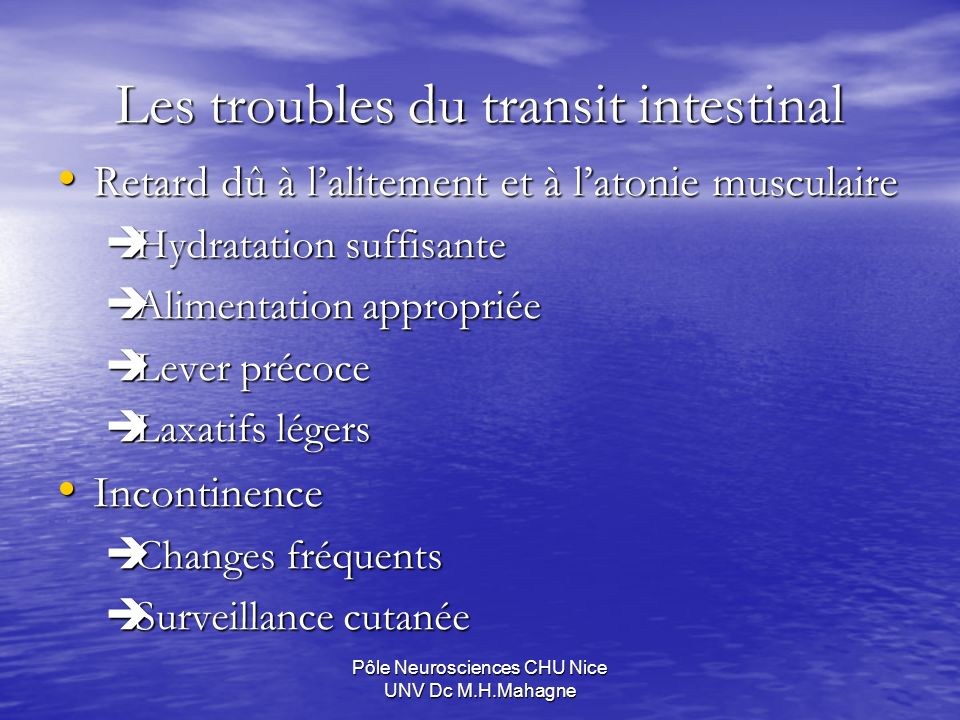 Les troubles du transit intestinal