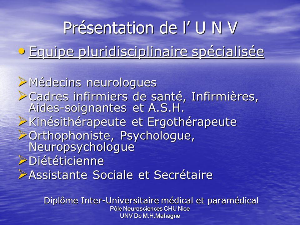 Présentation de l' U N V Equipe pluridisciplinaire spécialisée