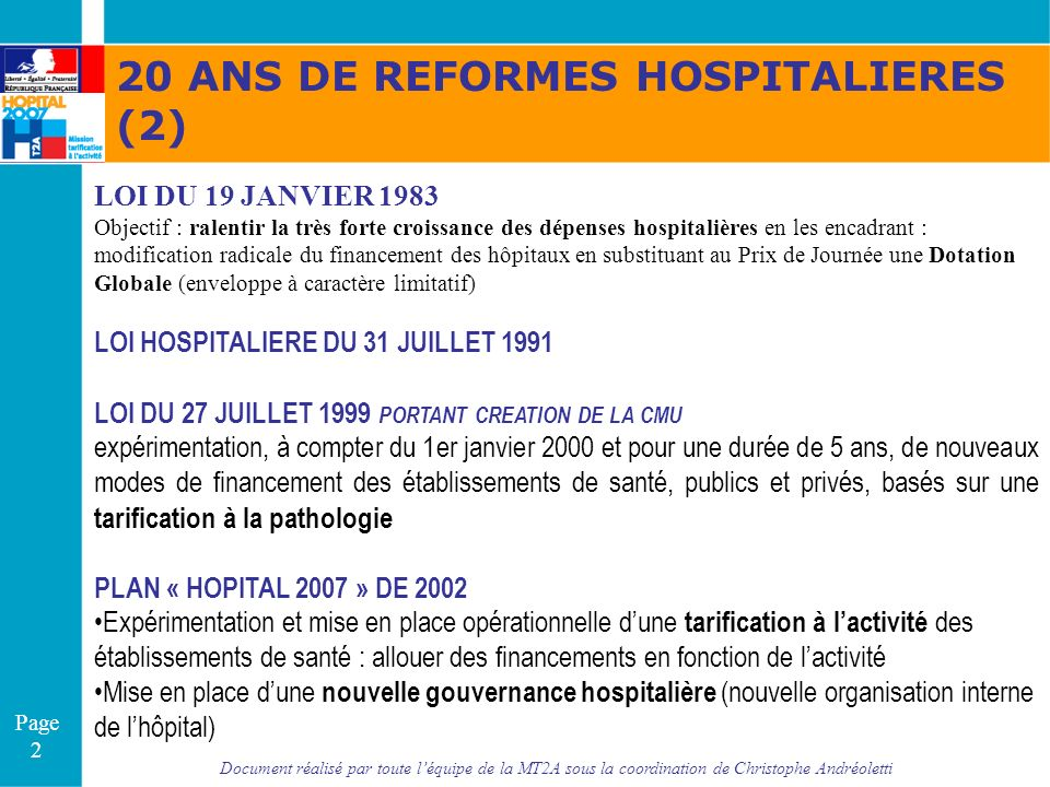 20 ANS DE REFORMES HOSPITALIERES (2)