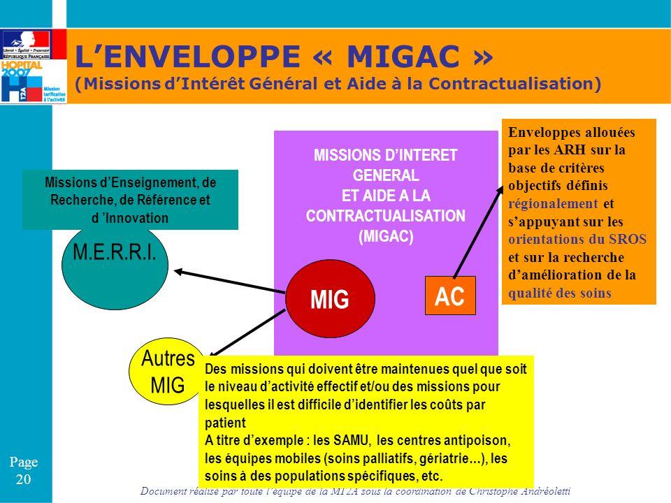L'ENVELOPPE « MIGAC » MIG AC M.E.R.R.I. Autres MIG