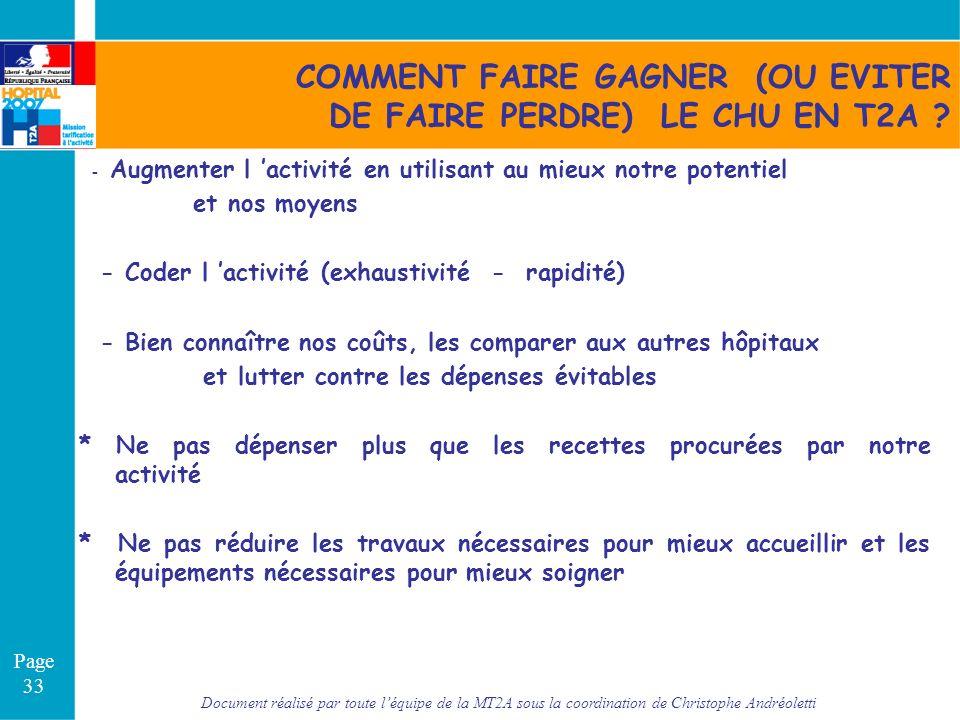 COMMENT FAIRE GAGNER (OU EVITER DE FAIRE PERDRE) LE CHU EN T2A