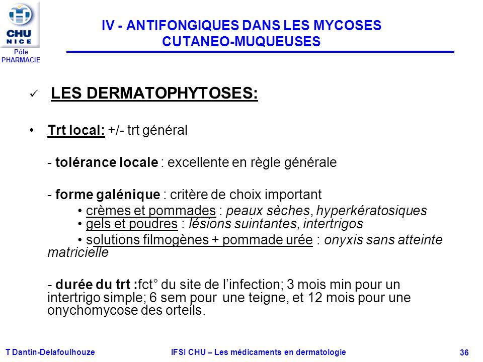 IV - ANTIFONGIQUES DANS LES MYCOSES CUTANEO-MUQUEUSES