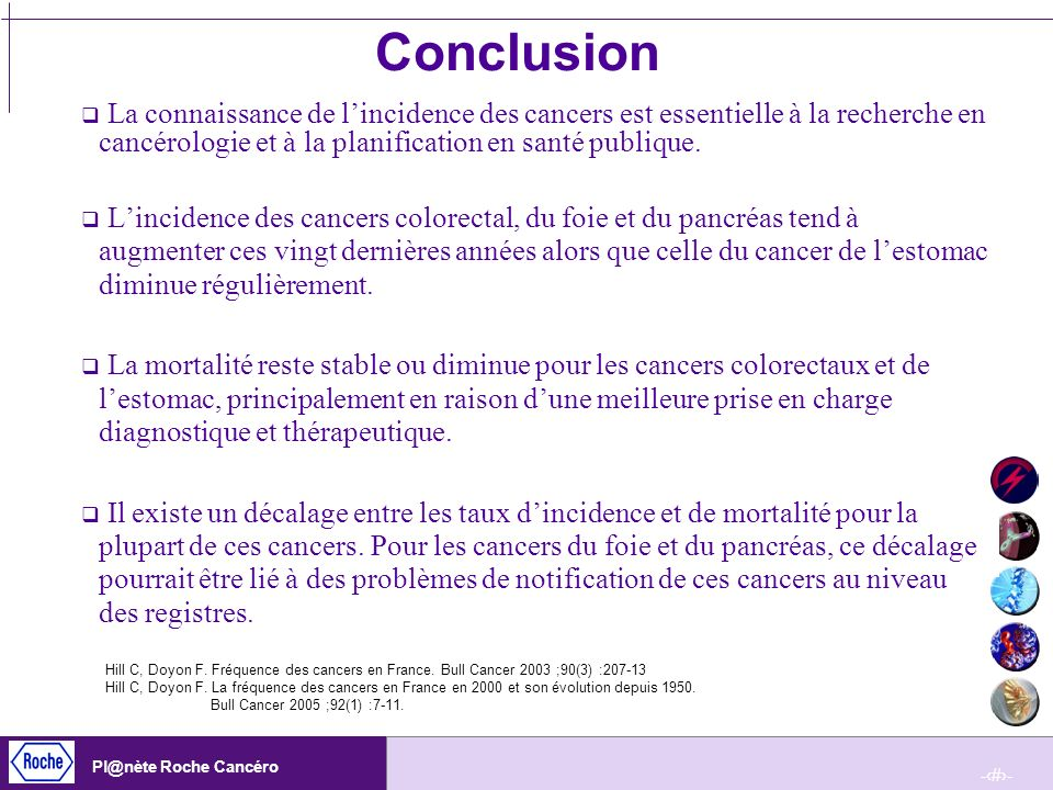 Conclusion La connaissance de l'incidence des cancers est essentielle à la recherche en cancérologie et à la planification en santé publique.