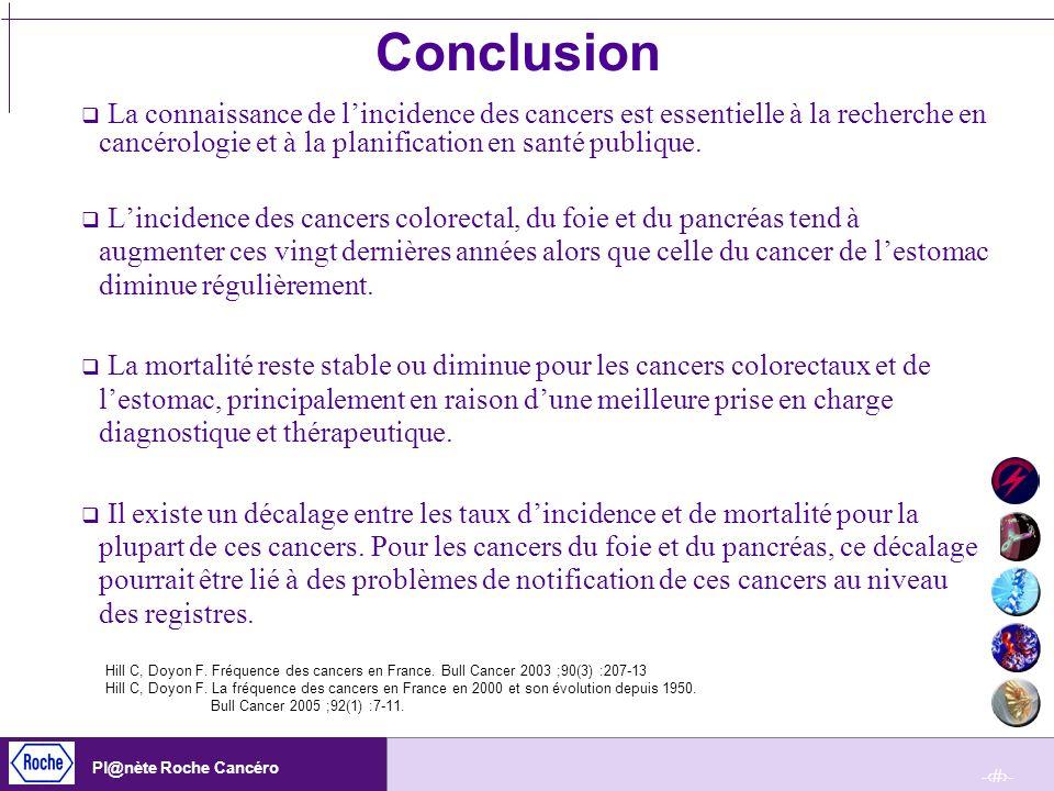 ConclusionLa connaissance de l'incidence des cancers est essentielle à la recherche en cancérologie et à la planification en santé publique.