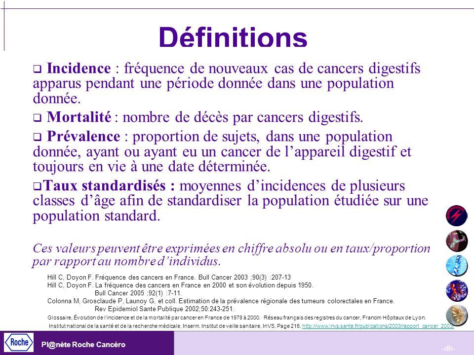 DéfinitionsIncidence : fréquence de nouveaux cas de cancers digestifs apparus pendant une période donnée dans une population donnée.