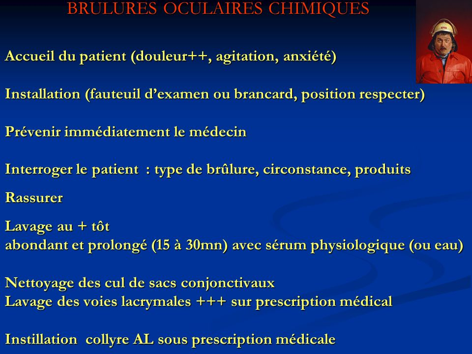 BRULURES OCULAIRES CHIMIQUES