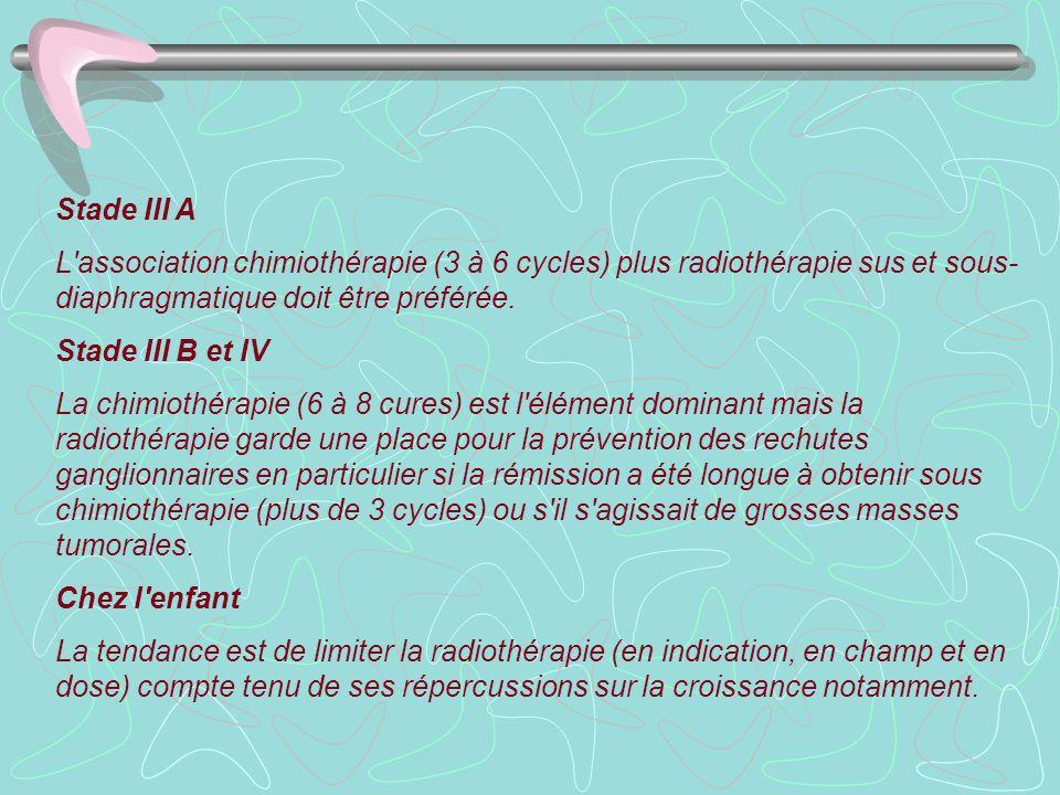 Stade III AL association chimiothérapie (3 à 6 cycles) plus radiothérapie sus et sous-diaphragmatique doit être préférée.