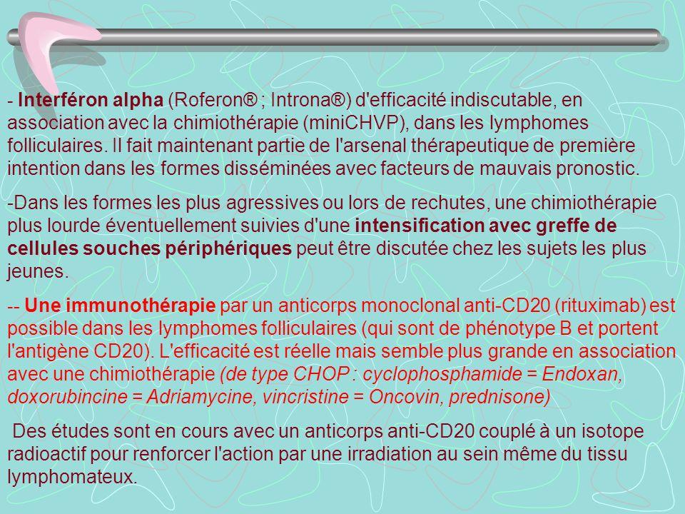 - Interféron alpha (Roferon® ; Introna®) d efficacité indiscutable, en association avec la chimiothérapie (miniCHVP), dans les lymphomes folliculaires. Il fait maintenant partie de l arsenal thérapeutique de première intention dans les formes disséminées avec facteurs de mauvais pronostic.