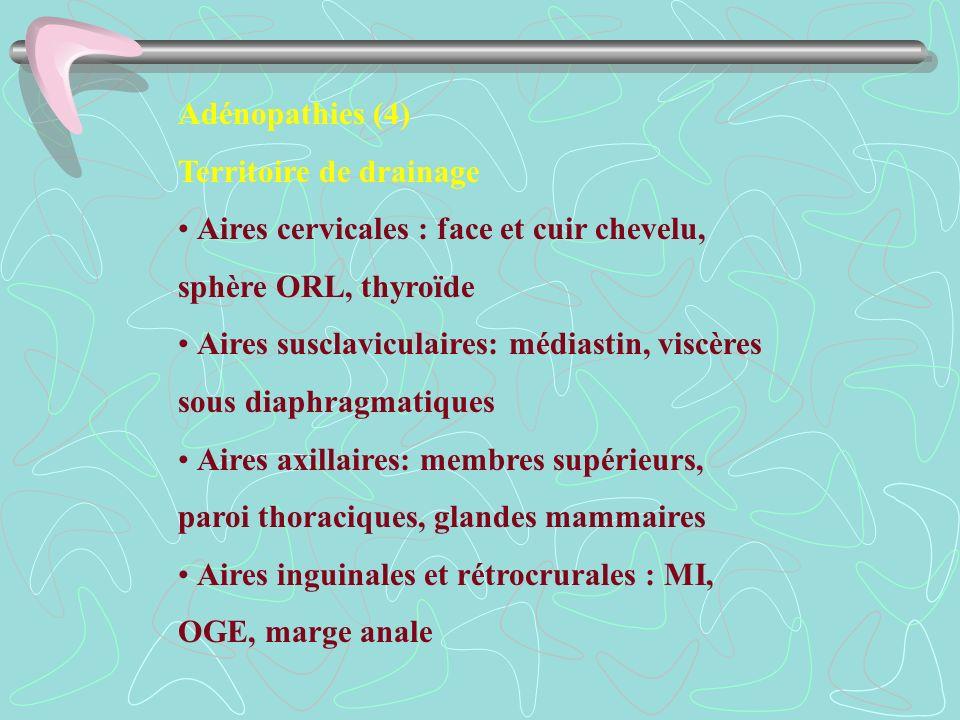 Adénopathies (4)Territoire de drainage. • Aires cervicales : face et cuir chevelu, sphère ORL, thyroïde.