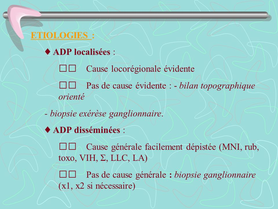 ETIOLOGIES : ♦ ADP localisées :  Cause locorégionale évidente.  Pas de cause évidente : - bilan topographique orienté.