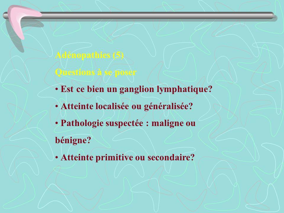 Adénopathies (5) Questions à se poser. • Est ce bien un ganglion lymphatique • Atteinte localisée ou généralisée