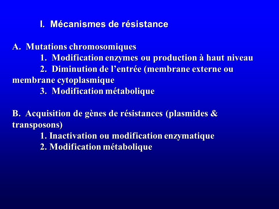 I. Mécanismes de résistance. A. Mutations chromosomiques. 1