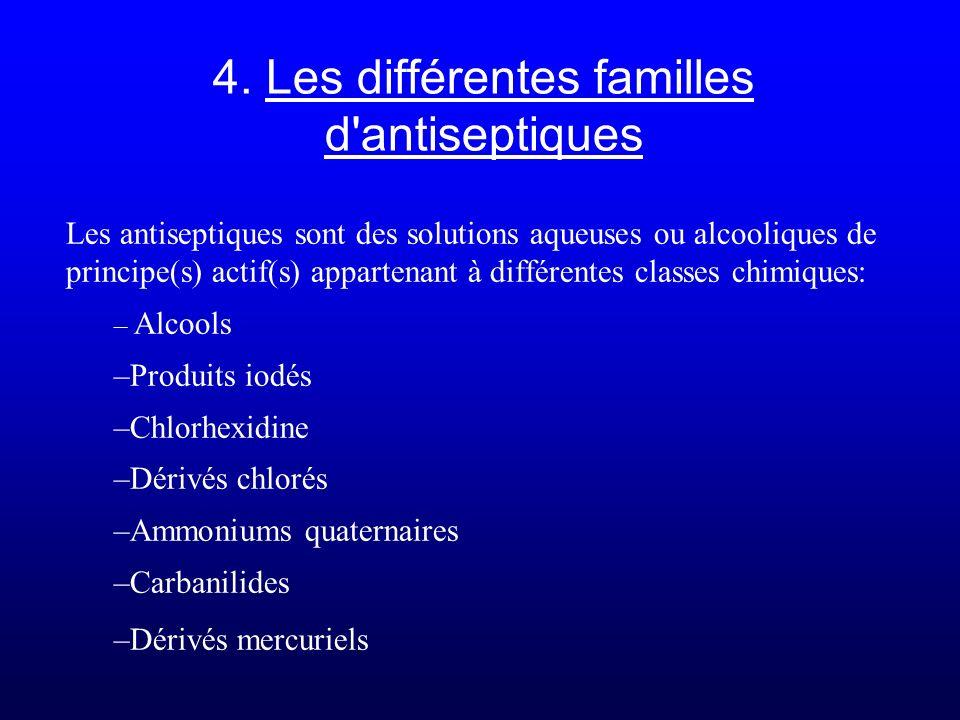 4. Les différentes familles d antiseptiques
