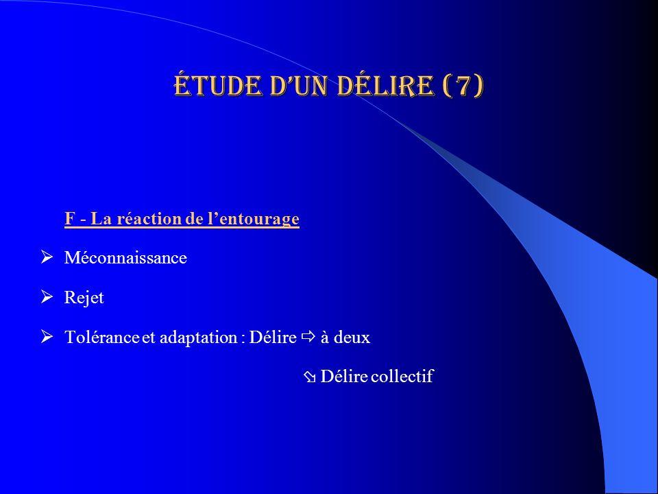Étude d'un délire (7) F - La réaction de l'entourage Méconnaissance