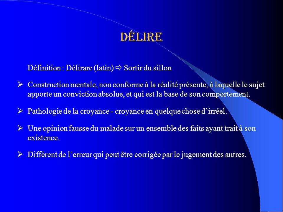 Délire Définition : Délirare (latin)  Sortir du sillon