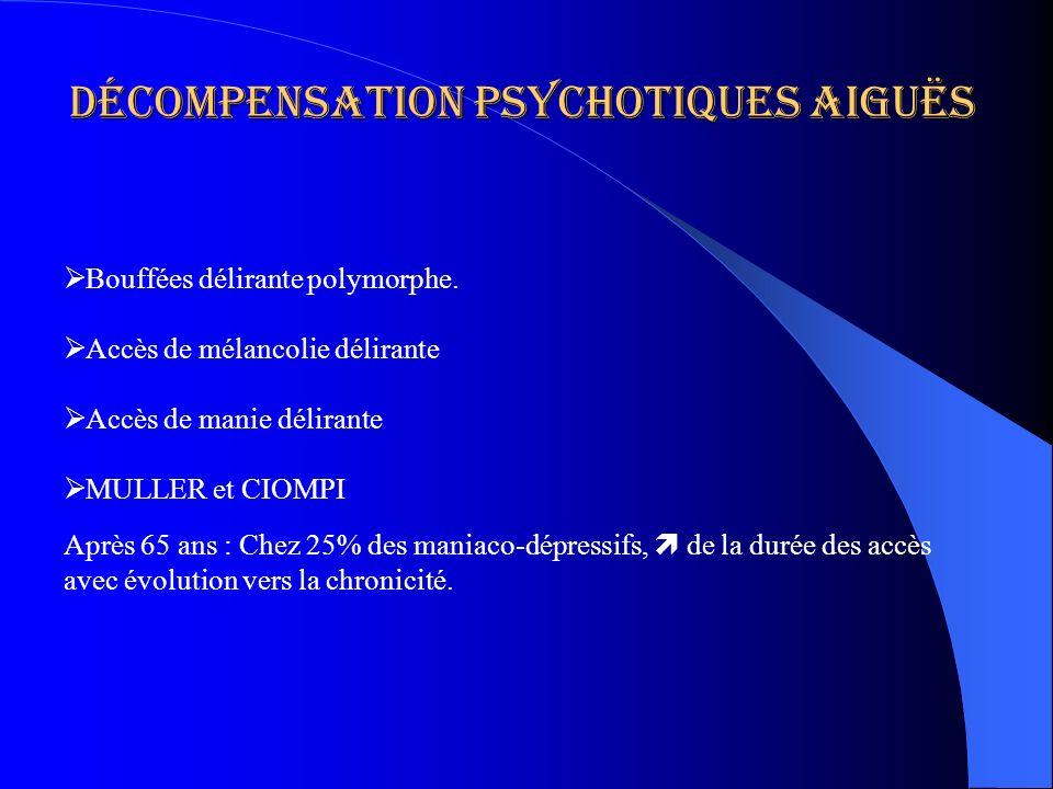 Décompensation psychotiques aiguës