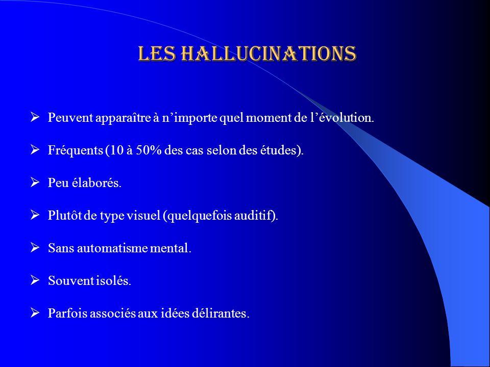 Les Hallucinations Peuvent apparaître à n'importe quel moment de l'évolution. Fréquents (10 à 50% des cas selon des études).