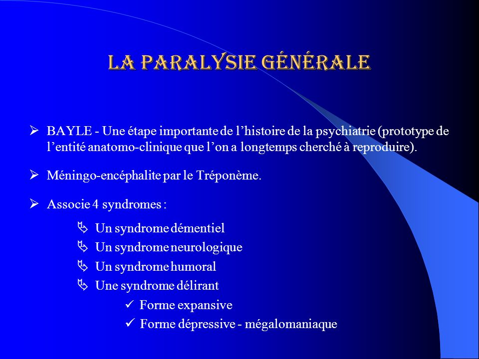 La paralysie générale