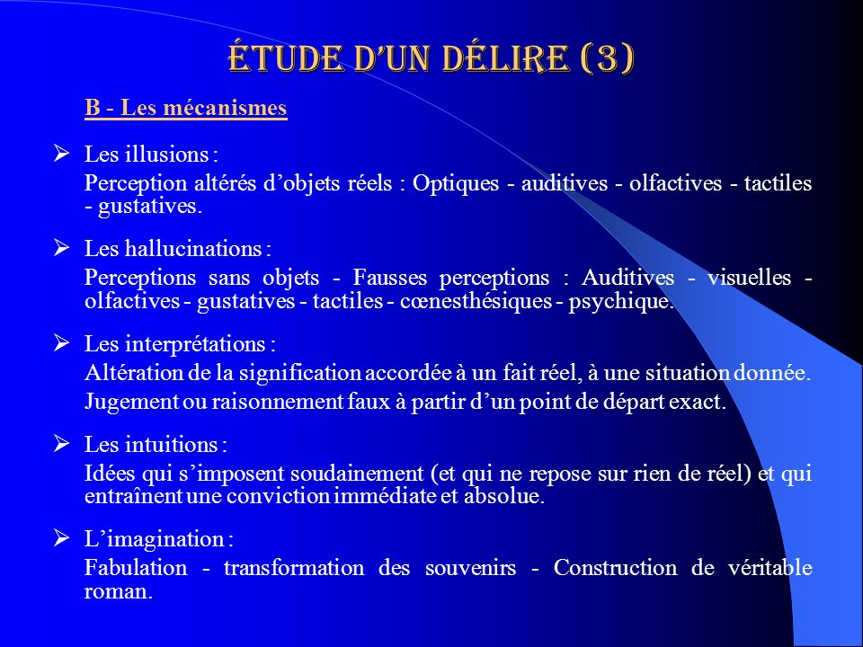 Étude d'un délire (3) Les illusions :