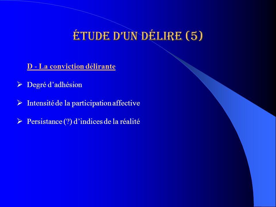 Étude d'un délire (5) D - La conviction délirante Degré d'adhésion