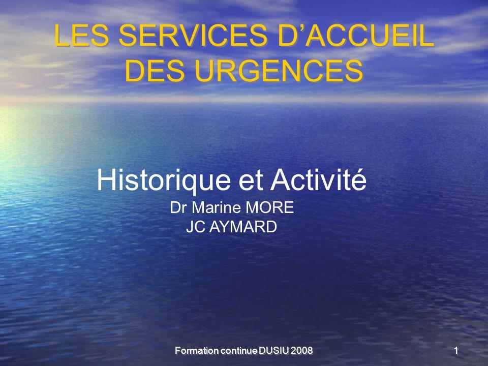 LES SERVICES D'ACCUEIL DES URGENCES
