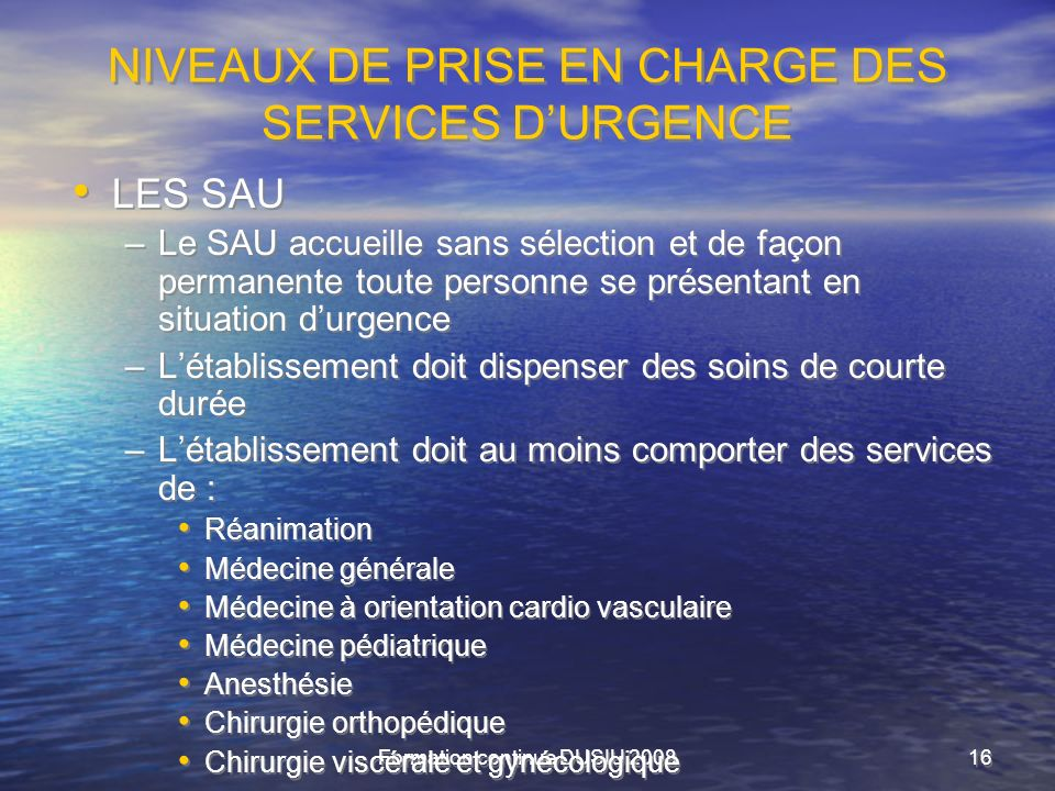 NIVEAUX DE PRISE EN CHARGE DES SERVICES D'URGENCE
