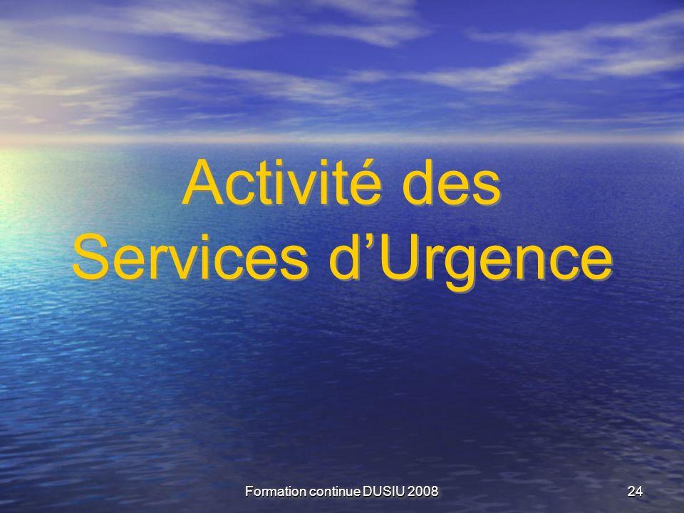 Activité des Services d'Urgence