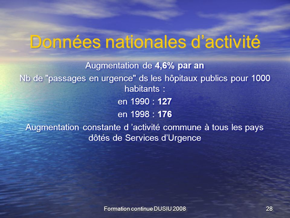 Données nationales d'activité
