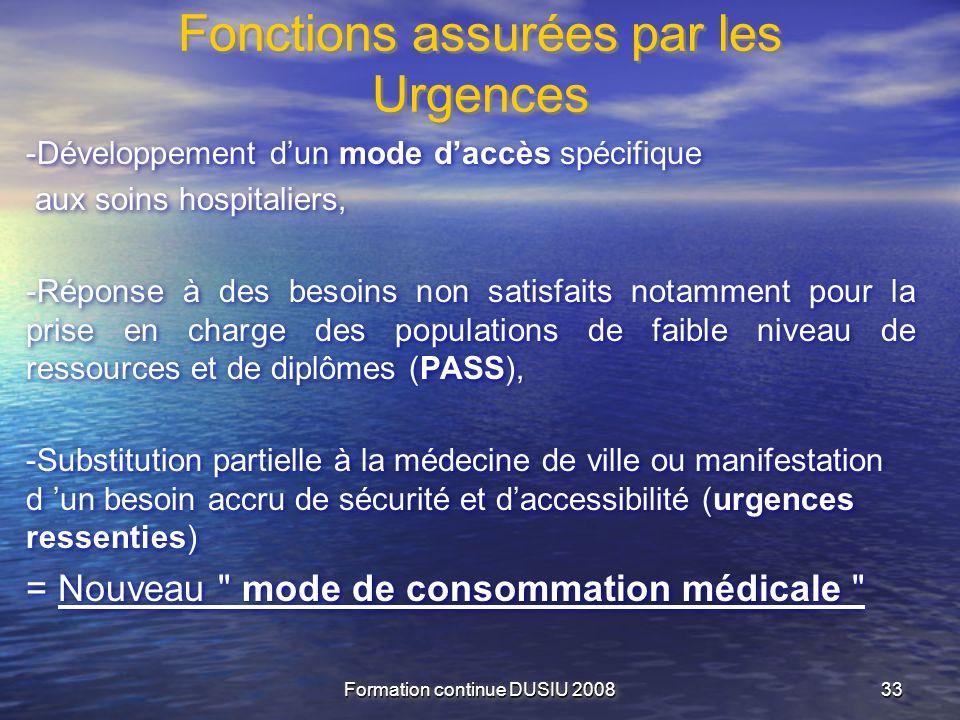 Fonctions assurées par les Urgences