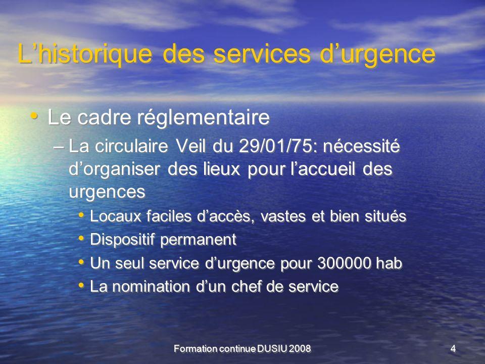 L'historique des services d'urgence