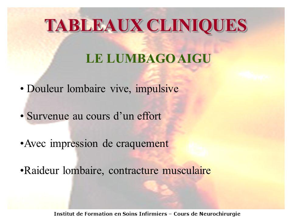 TABLEAUX CLINIQUES LE LUMBAGO AIGU Douleur lombaire vive, impulsive