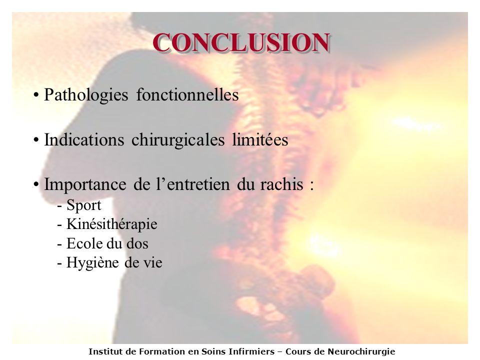 CONCLUSION Pathologies fonctionnelles