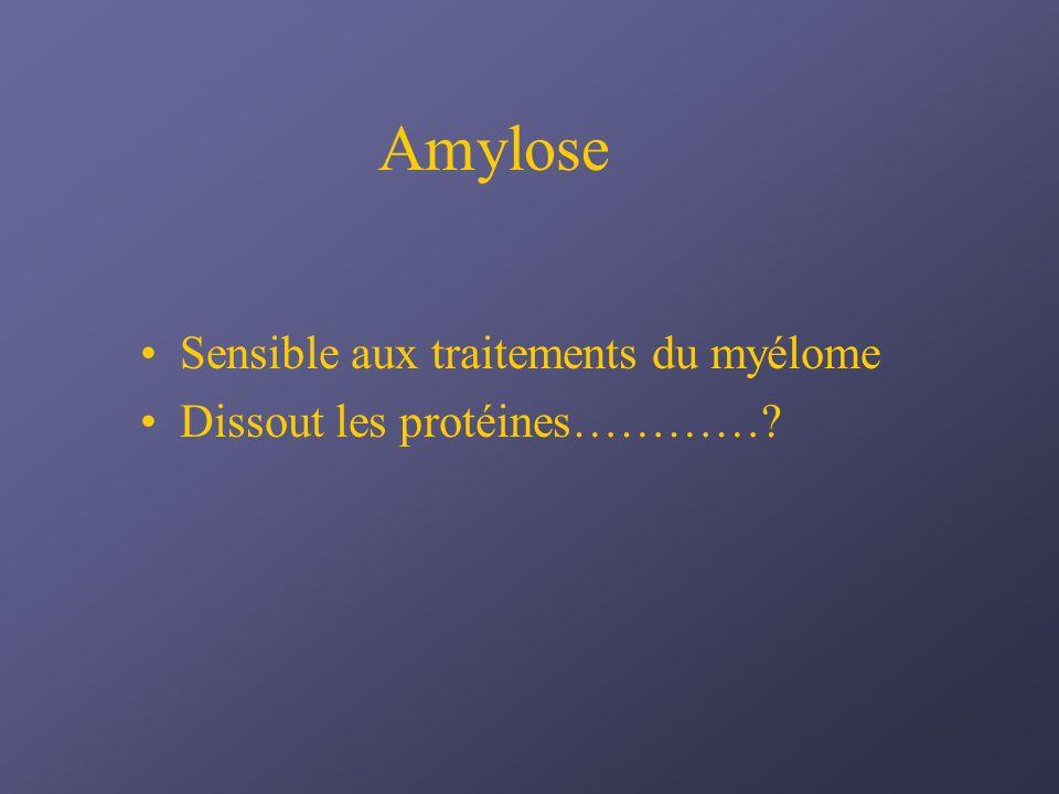 Amylose Sensible aux traitements du myélome Dissout les protéines…………