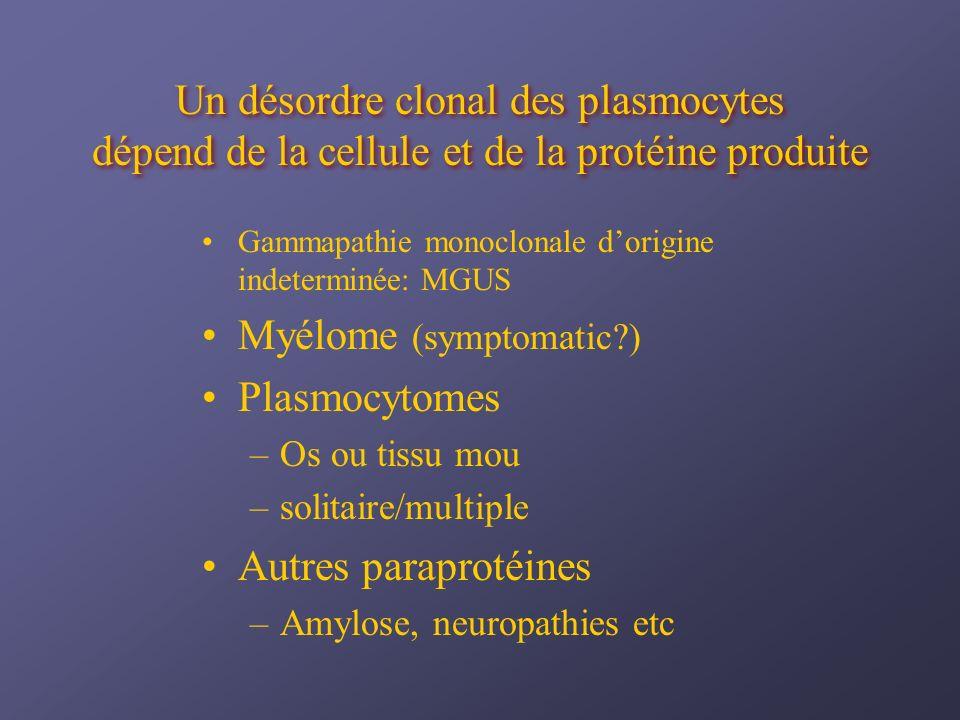 Myélome (symptomatic ) Plasmocytomes