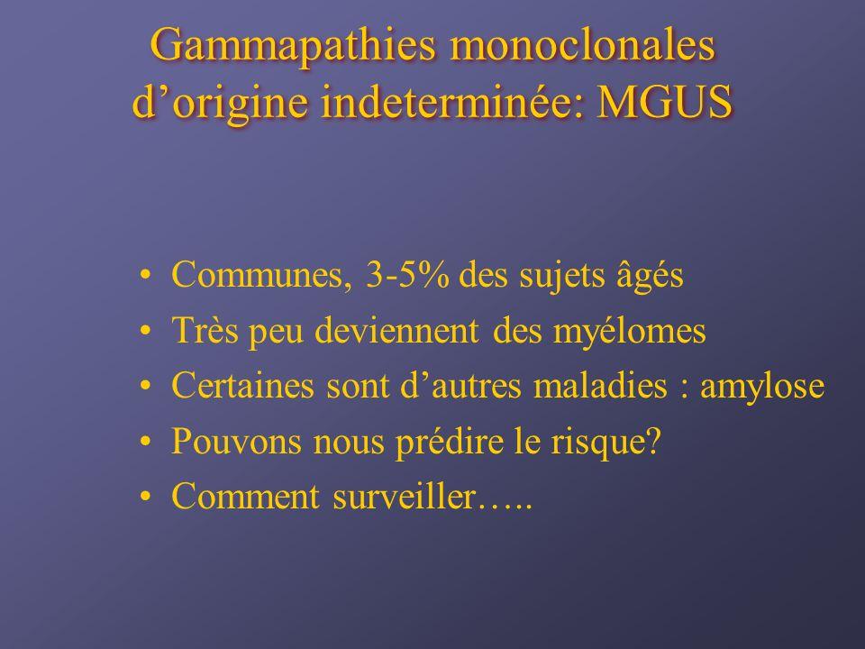 Gammapathies monoclonales d'origine indeterminée: MGUS