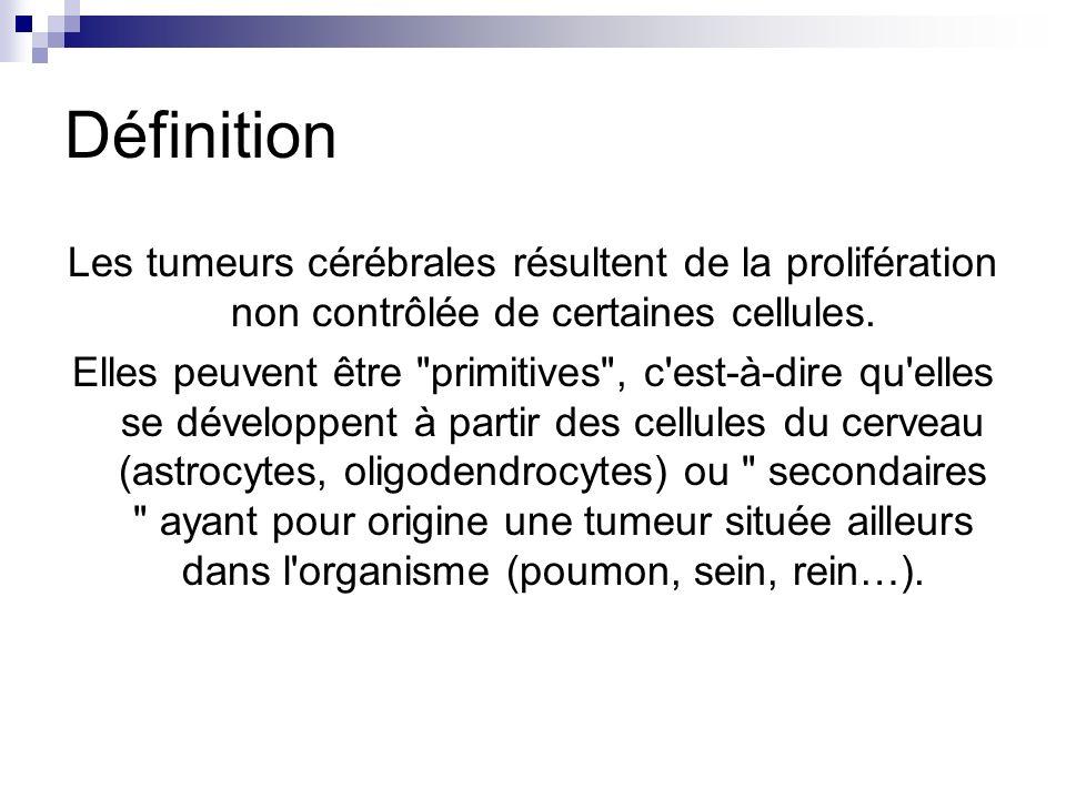 Définition Les tumeurs cérébrales résultent de la prolifération non contrôlée de certaines cellules.